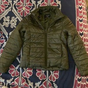 Green quilted jacket with pockets